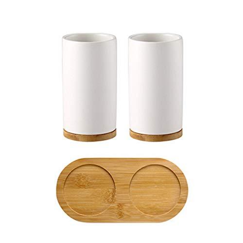 Wankd Zahnbürstenhalter, Bad-Set Keramik Mundschale Zahnbürstenhalter Lotion Flasche für Zahnpasta Bambus-Lagerung Bord (B)