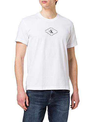 Calvin Klein Jeans CK Monotriangle Tee T-Shirt, Bianco Brillante, S Uomo