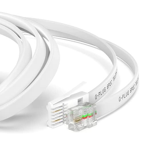 Cable Telefono Fijo 2m de Largo Cable BT Teléfono a Modem RJ11 de 2 Hilos Extensión Blanca de Plomo para Fax, Dial up, Teléfono Sky de G-PLUG