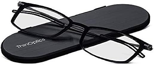ThinOptics Milano Aluminum Frontpage Brooklyn Rectangular Reading Glasses, Black Frames/Silver Case, 1.5 x