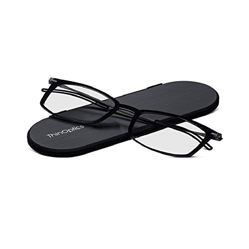 ThinOptics Reading Glasses + Milano Aluminum, Magnetic Case | Frontpage Brooklyn Collection, Black Frame 2.00 Strength Readers