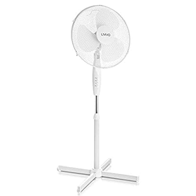 """LIVIVO Electric 16"""" Pedestal Fan – Powerful Free Standing Oscillating and Tilting 45W Height Adjustable Rotating Stand Tower Fan Mesh Safety Grill (White)"""
