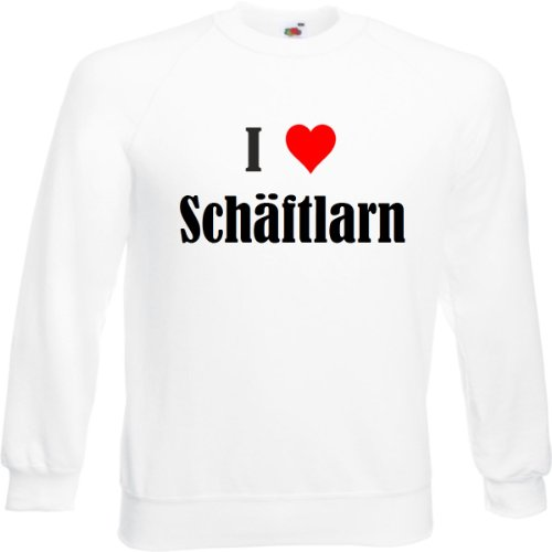 Bandenmarkt sweatshirt I Love Schäflarn voor dames heren en kinderen in de kleuren zwart wit en blauw met opdruk
