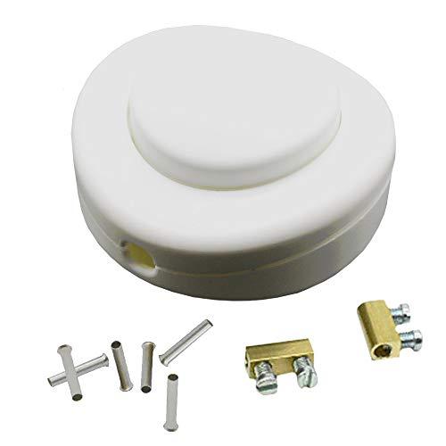 Set de interruptor de pedal blanco + terminales de cable de 0,75 mm² + terminales de conexión para cable 2G/3G 250V/2A, interruptor de pie