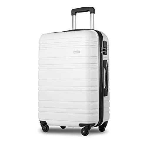 BHNACM 4 Wheel Travel Trolley Lightweight 24 Inch Hard Shell Suitcase Luggage Set Holdall White Cabin Case