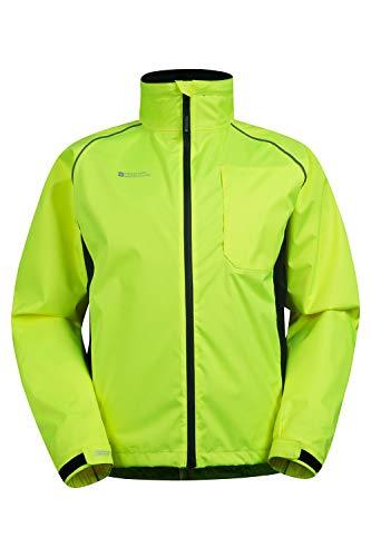 Mountain Warehouse Adrenaline Winddichte Herren Fahrradjacke- Atmungsaktiv, Reflektierend, Leucht-Print, Verstellbarer Saum, Regenjacke - Für Radfahren, Joggen & Wandern, Frühling Gelb Medium