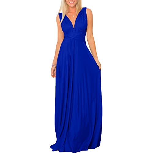 Women's Transformer Convertible Multi Way Wrap Long Prom Maxi Dress V-Neck Hight Low Wedding Bridesmaid Evening Party Grecian Dresses Boho Backless Halter Formal Cocktail Dance Gown Royal Blue Small