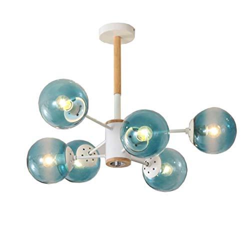 Candelabro de cristal de color caramelo Restaurante Tatami Cafetería Sala de estar Cristal Lámpara de techo (Color : Blue-5W White)