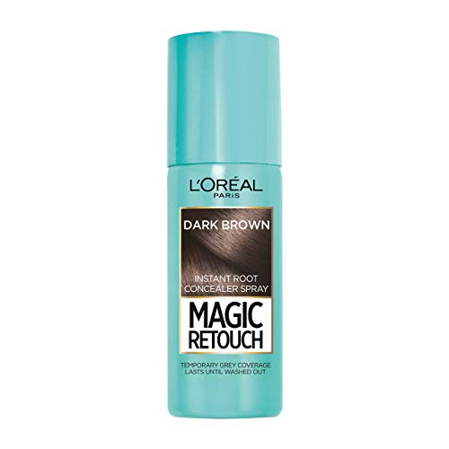 L'Oreal Magic Retouch Dark Brown Temporary Instant Root Concealer Spray, Use with Home or Salon Hair Dye or Hair Colour, Ideally Conceals Grey Hair with Easy Application, 75 ml