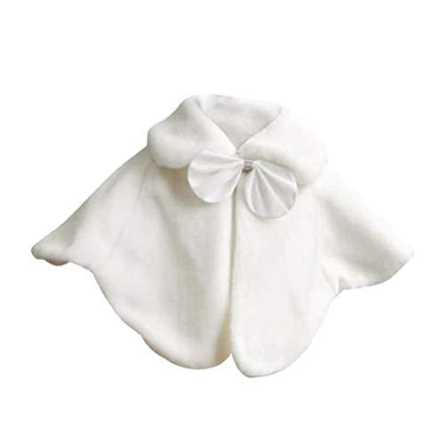 Amosfun Chal de niña de Las Flores Faux Fur Lazos de Cinta Vestido de Flores Bufanda de Chal de Dama de Honor para 1-3 años