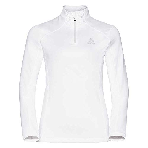Odlo Midlayer 1/2 Zip STEEZE Pull Femme, White, FR : L (Taille Fabricant : L)