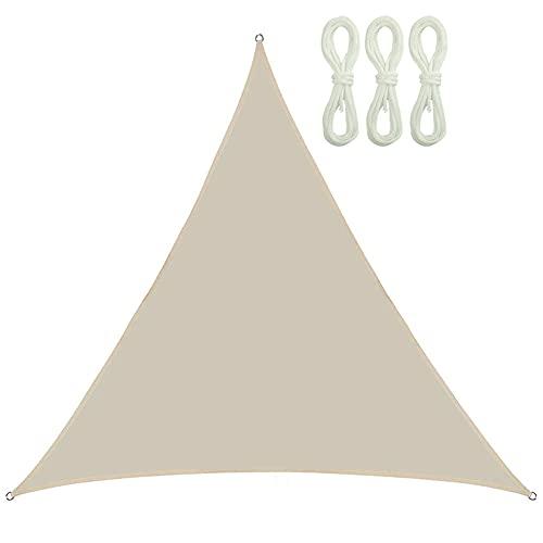 QINZC Toldo Vela De Sombra Triangular 2x2x2m Tela Vela Parasol Impermeable E Prueba De Viento 90% Resistente UV para Patio, Exteriores, JardíN,Beige