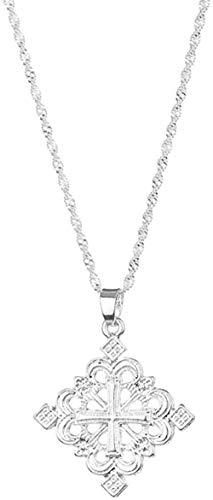 Liuqingzhou Co.,ltd Collar con Colgante de Cruz de Color Plateado etíope, Collares para Mujeres, Eritrea, África, Cadena de Cruces étnicas, joyería