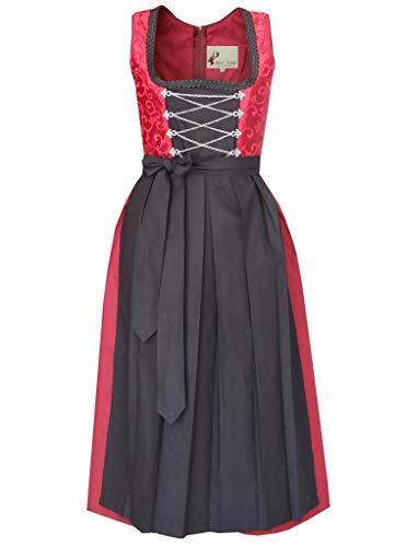 Autentico Vestito Bavarese Tedesco Dirndl Set 2 Pezzi Costume Tipico Tirolese per Oktoberfest Carnevale Donna (38)