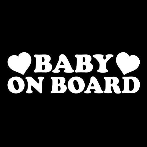 JKGHK Pegatina de vinilo para bebé a bordo en el coche, 14, 9 cm x 4, 6 cm, color plateado