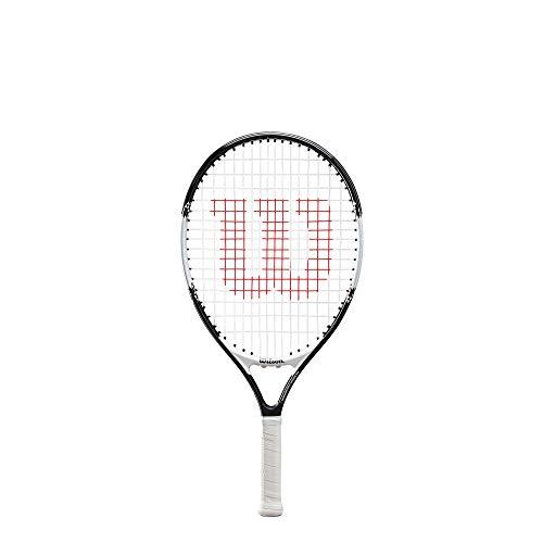 Wilson Tennisschläger Roger Federer 21, für Kinder im Alter von 5  - 6 Jahre, AirLite-Legierung, schwarz/weiß, WR028510U