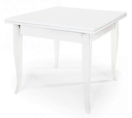Liberoshopping LIB358 Table classique couleur blanche 100 x 100 cm livre extensible à 200 x 100 cm