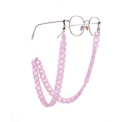 fishhook Brillen Kette Mode Acryl Brillen Sonnenbrillen Lesebrille rutschfeste schwarz Kautschukband Keeper Lanyard Halter Halskette für Frauen Männer (Rosa)