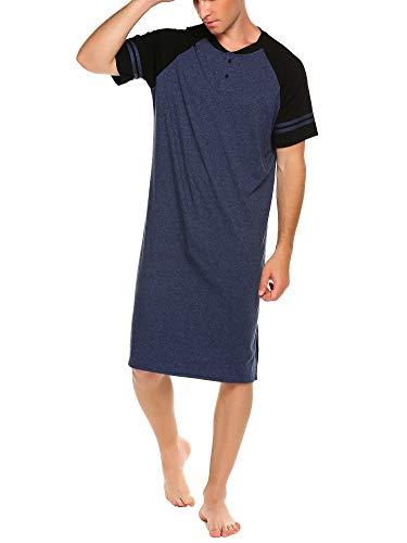 Meaneor Männer Herrennachthemd Sommer Nachthemd Einteiliger Schlafanzug Schlafshirt für Männer Nachtwäsche Schlafkleid Kurzarm Herren Nachthemd Lidl Navy Blau XXL