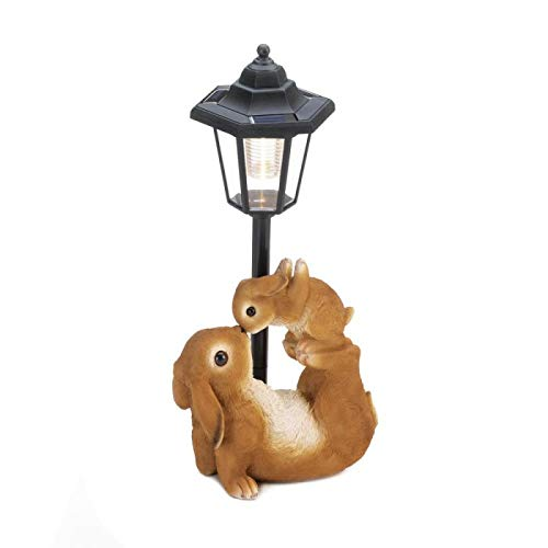 Summerfield Terrace 10018806 Adorable MOM and Baby Rabbit Solar LAMP, White