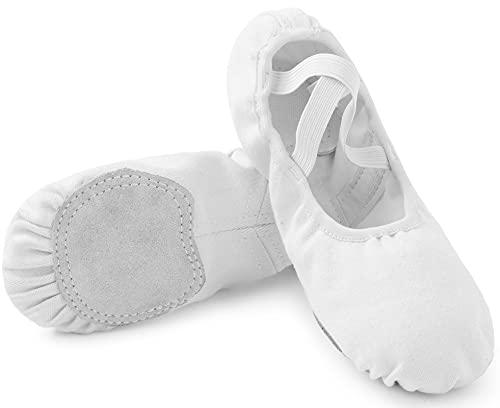 Kinder Ballettschuhe Mädchen Ballerina Tanzschuhe Damen Gymnastik Tanzen Atmungsaktiv Schuhe Frauen Weich Ballettschläppchen Weiß 33