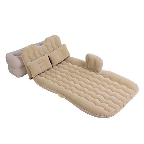 AYNEFY Luftmatratze Set, weiches aufblasbares Bett mit Matratzenkissen Hocker und Luftpumpe für Indoor Auto Reise Rücksitzkissen Outdoor Camping (Beige)