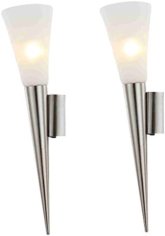 2er Set LED Wand Lampen Gstezimmer Strahler Fackel Glas Leuchten silber EEK A++