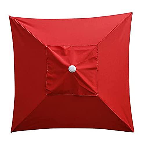 KAISUN Cubierta de repuesto para sombrilla, 2 x 2 m, toldo de repuesto de poliéster, para jardín, terraza, patio trasero, piscina (rojo)