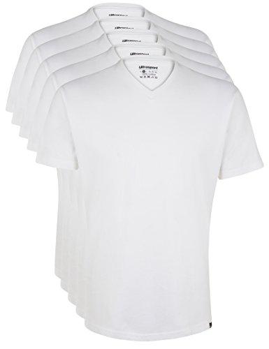 Ultrasport Herren Sport Freizeit T-Shirt mit V-Ausschnitt 5er Set, Weiß, L