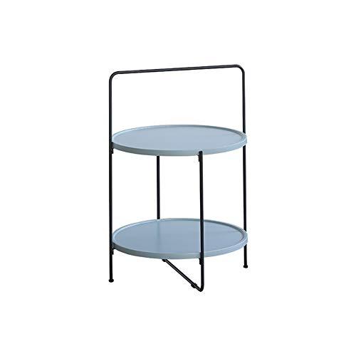 Shangfu Fácil de Ajustar Mesas de café Nordic Round Bedroom Hierro Madera Maciza Simple Balcón Móvil Persona Perezosa Moderno Hermoso (Color : G2 Blue)