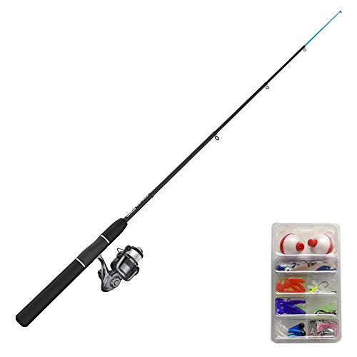 Zebco Ready Tackle Spinning Reel and Telescopic Fishing Rod Combo, 17-Inch to 5-Foot 6-Inch Telescopic Fishing Pole, Size 20 Fishing Reel, Pre-Spooled 8-Pound Fishing Line, 53-Piece Tackle Kit