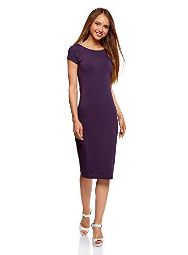 oodji Collection Damen Midi-Kleid mit Ausschnitt am Rücken, Violett, DE 38 / EU 40 / M