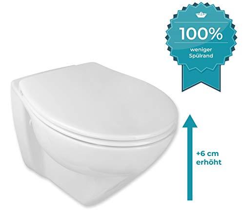 Calmwaters® Spülrandloses, erhöhtes Wand-WC Modern Plus mit Toilettendeckel, 6 cm Erhöhung, inklusive abnehmbarem WC-Sitz mit Absenkautomatik und Schnellbefestigung, Tiefspüler in Weiß