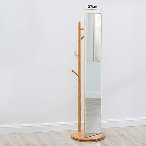 Lfixhssf Bamboe garderobe met spiegel voor slaapkamer, living, kleding, slaapkamer, houder, eenvoudig, multifunctioneel, Lfixhssf C
