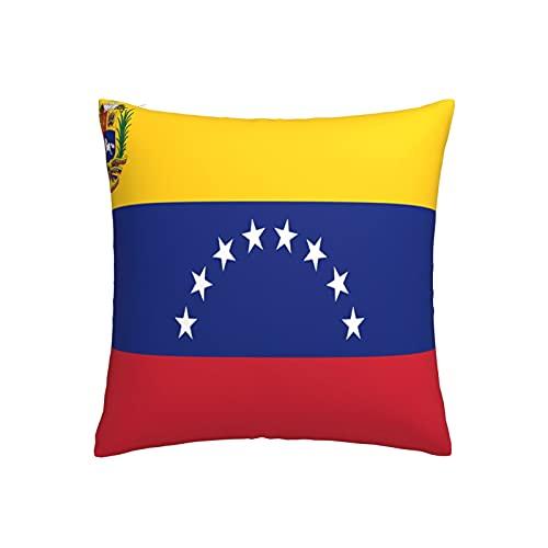 Kissenbezug mit Flagge von Venezuela, quadratisch, dekorativer Kissenbezug für Sofa, Couch, Zuhause, Schlafzimmer, für drinnen & draußen, niedlicher Kissenbezug 45,7 x 45,7 cm