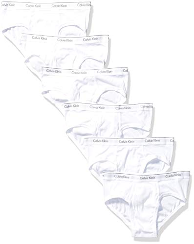Calvin Klein Men's Cotton Classics Multipack Low Rise Hip Briefs, White (6 Pack), L