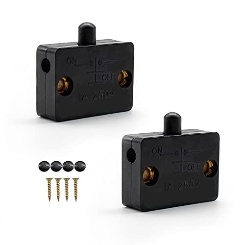 LERANXIN 2 Piezas Interruptor de luz de Armario, Negro Interruptor de Armario, Interruptor de Contacto Fabricado en Plástico Aislante, Se Puede Utilizar Para Armarios, Archivadores