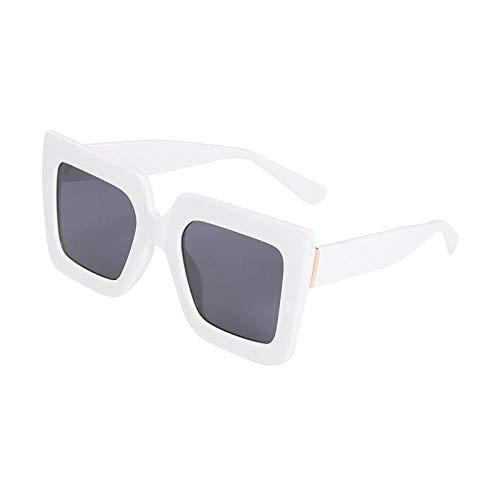 chuanglanja Gafas De Sol Vogue Mujer Gafas De Sol Cuadradas De Gran Tamaño Mujeres Hombres Gafas De Sol Con Montura De Diseñador UV400-Blanco