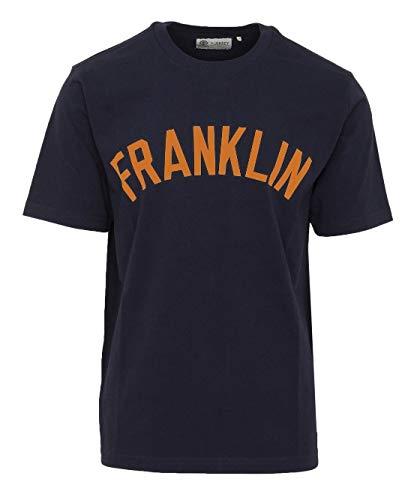 Franklin & Marshall - Camiseta de hombre azul marino con impresión naranja XXL