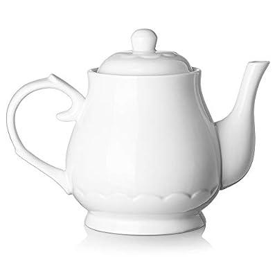 DOWAN Small Porcelain Teapot 22 Ounces White Fine Pierced Ceramic Tea Pot