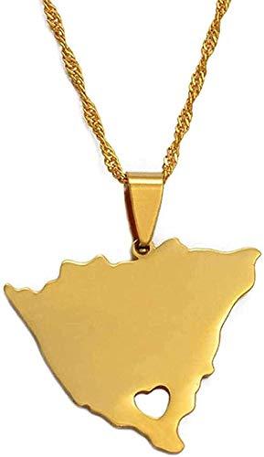 WYDSFWL Collar Colgantes de Mapa de Nicaragua y Collares amp para Mujeres Encanto de Color Dorado Mapas de Nicaragua Regalos de joyería