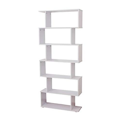 HOMCOM Estanteria Libreria 6 Estantes Madera Forma S 80x24x191 cm Estantes Color Blanco