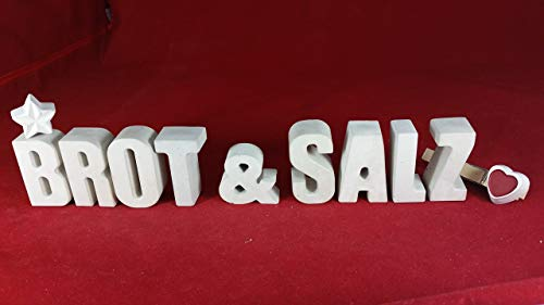 Beton, Steinguss Buchstaben 3 D Deko Schriftzug BROT & SALZ mit Stern und Herzklammer als Geschenk verpackt! Ein ausgefallenes Geschenk als Deko Schriftzug für einen schönen Platz im Home.