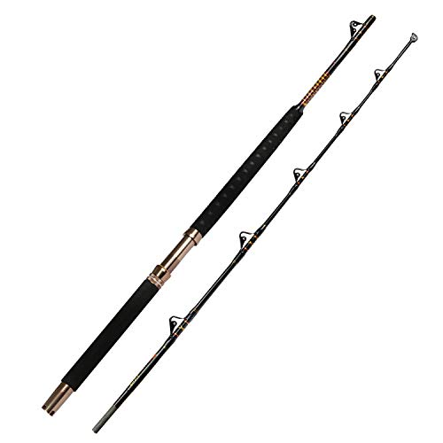 Fiblink 2-Piece Saltwater Offshore Heavy Trolling Rod Big Game Roller Pole Conventional Boat Fishing Rod (7' - 30-50lb - 2Piece)