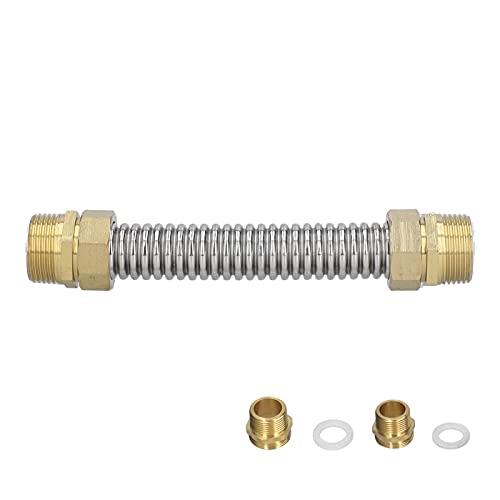 YUUGAA Airconditioner gegolfde slang, G1 mannelijke draad gegolfde buis roestvrij staal airconditioner verbindingsslang voor boiler 20cm