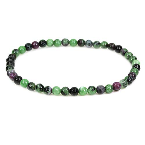 AMANDASTONES Natural A Grade Ruby in Zoisite 4mm Round Beads Stretch Bracelet 7' Unisex