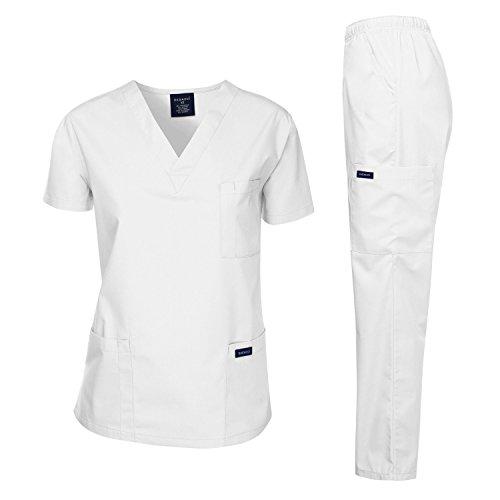 Dagacci Medical Uniform Woman and Man Scrub Set Unisex Medical Scrub Top and Pant, White, XL