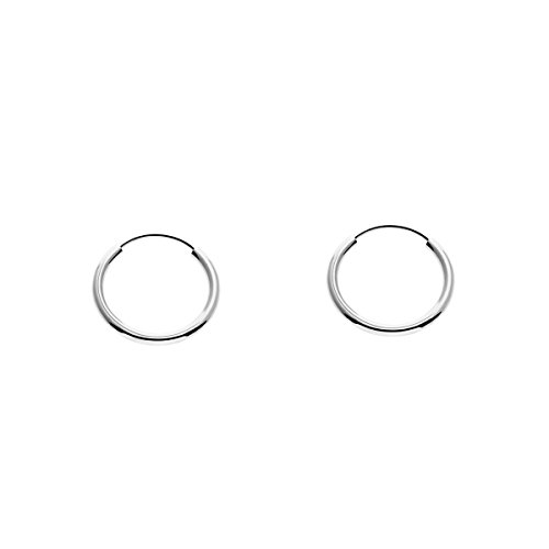 Small 14k Gold Round Flexible Thin Continuous Endless Hoop Earrings, Unisex (10mm, white-gold)