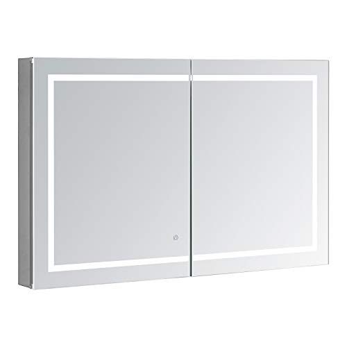AQUADOM Royale Plus, 40in x 30in x 5in, Large, LED Medicine Cabinet, Defogger, Touch Screen Button, Dimmer, Electrical Outlet