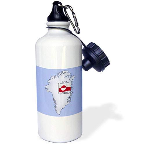 qidushop De Kaart Vlag Groenland Groenland Land De Kalaallit In het Engels Nederlands Wit Kantoorwerk Yoga Fiets Camping Sport Waterfles Present 21oz